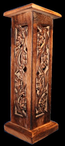 Holzturm für Räucherstäbchen und Räucherkegel