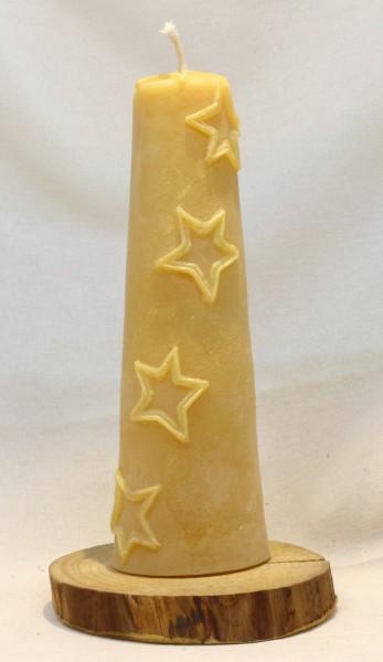Bienenwachs - Kerze mit Sternen, gelb