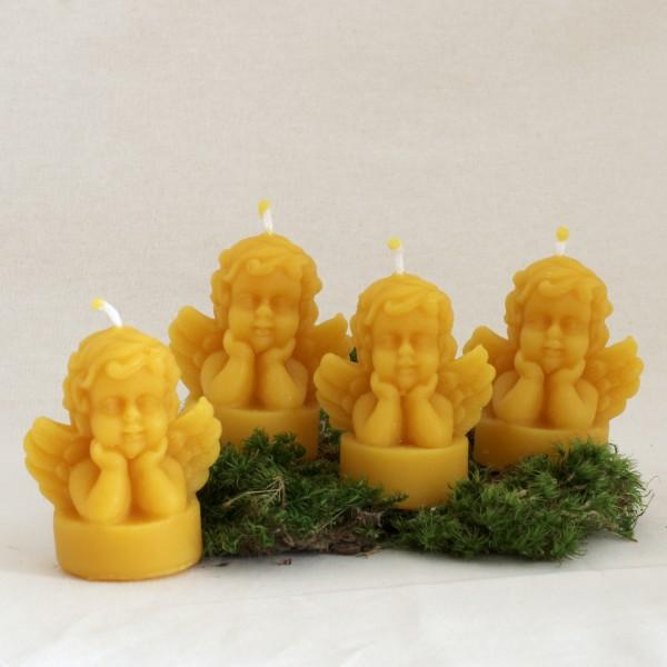 Teelicht Engelkerze aus Bienenwachs - 4er Set