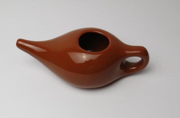 Nasenspüler / Nasenkännchen braune Keramik groß