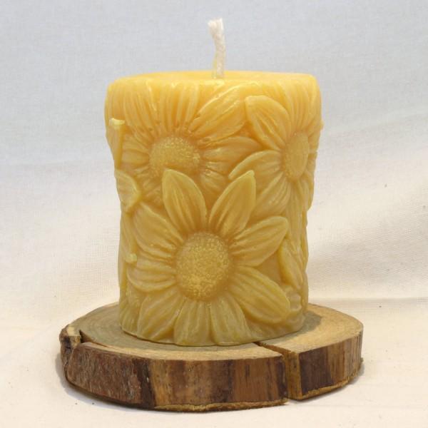 Bienenwachs - Kerze mit Motiv Sonnenblume, gelb